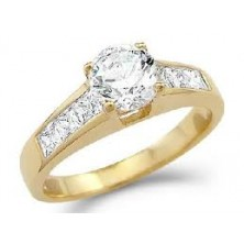 "1.40 Ct. Men""s Solitaire Diamond Ring With Round Brilliant Diamond and Side Princess Cut Diamonds"