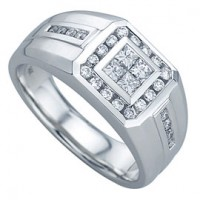 "0.64 Ct. Men""s Diamond Ring With Princess Cut And Round Brilliant Diamonds"