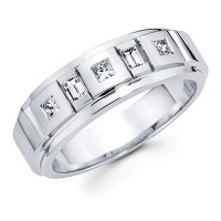 0.50 Ct. Diamond Band Ring With Princess Cut And Baguette Shape Diamonds