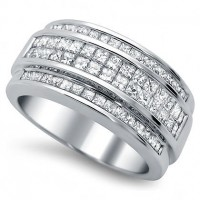 1.84 Ct. Diamond Band Ring With Princess Cut Diamonds