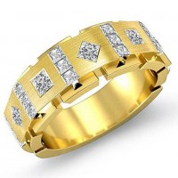 "0.94 Ct. Men""s Diamond Band Ring With Princess Cut Diamonds"