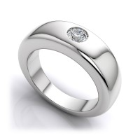 "0.40 Ct. Men""s Solitaire Diamond Band Ring With Round Brilliant Diamond"