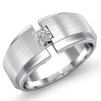"0.40 Ct. Men""s Solitaire Diamond Band Ring With Princess Cut Diamond"