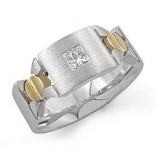 "0.50 Ct. Men""s Solitaire Diamond Band Ring With Princess Cut Diamond"