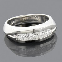 "2.00 Ct. Men""s Solitaire Diamond Band Ring With Princess Cut Diamonds"