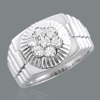 "0.63 Ct. Men""s Diamond Ring With Round Brilliant Diamonds"