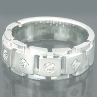 0.60 Ct. Diamond Band Ring With Round Brilliants and Princess Cut Diamonds