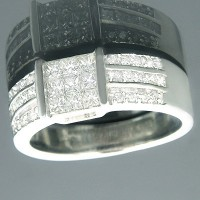 0.95 Ct. Men's Diamond Ring With Princess Cut And Round Brilliant Diamonds