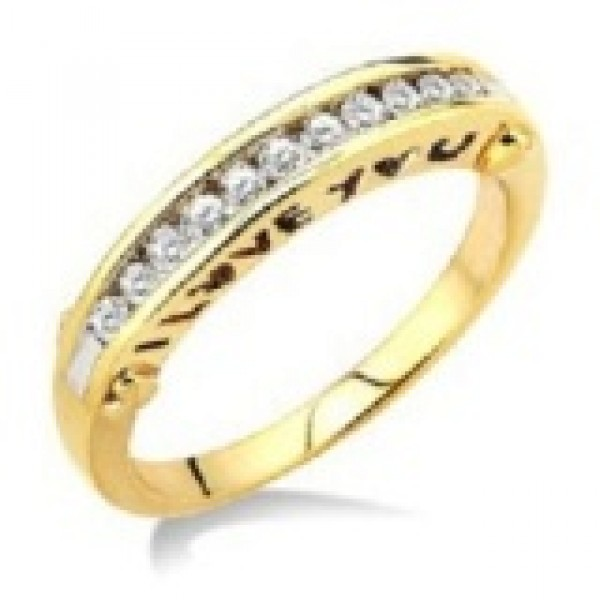 I Love You Channel Set Diamond Ring