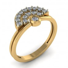 """ D "" Shape Casual Diamond Ring"