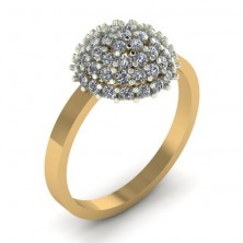 Half Bead Shape Casual Diamond Ring