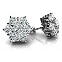 1.70 Ct. Round Brilliant Solitaire Diamond Earring Studs With Side Round Brilliant Diamonds