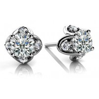 1.32 Ct. Round Brilliant Solitaire Diamond Earring Studs With Side Round Brilliant Diamonds