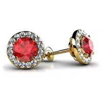 2.48 Ct. Round Shape Ruby Solitaire Earring Studs With Side Round Brilliant Diamonds