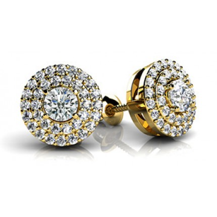 2.22 Ct. Round Brilliant Solitaire Diamond Earring Studs With 2 Row of Side Round Brilliant Diamonds