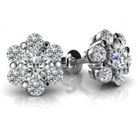 1.40 Ct. Round Brilliant Solitaire Diamond Earring Studs With Side Round Brilliant Diamonds