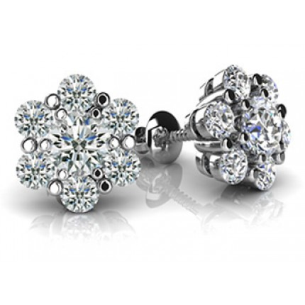 1.80 Ct. Round Brilliant Solitaire Diamond Earring Studs With Side Round Brilliant Diamonds