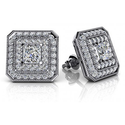 1.38 Ct. Princess Cut Solitaire Diamond Earring Studs With Side Round Brilliant Diamonds
