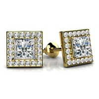 1.36 Ct. Princess Cut Solitaire Diamond Earring Studs With Side Round Brilliant Diamonds