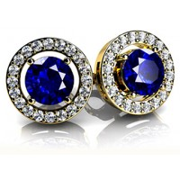 2.60 Ct. Round Shape Blue Sapphire Solitaire Earring Studs With Side Round Brilliant Diamonds