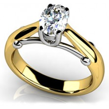 0.90 Ct. Oval Shape Solitaire Diamond Ring in 4 Prong Setting
