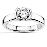 0.50 Ct. Solitaire Diamond Ring in Half Bezel Setting