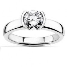 0.40 Ct. Solitaire Diamond Ring in Half Bezel Setting