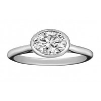 1.00 Ct. Oval Brilliant Solitaire Diamond Ring in Bezel Setting
