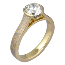 0.80 Ct. Solitaire Diamond Ring in Half Bezel Setting