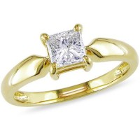 0.50 Ct. Princess Cut Solitaire Diamond Ring in 4 Prong Setting