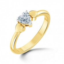 0.40 Ct. Heart Shape Solitaire Diamond Ring in 3 Prong Setting