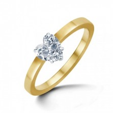 0.50 Ct. Heart Shape Solitaire Diamond Ring in 5 Prong Setting