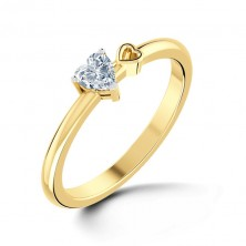 0.50 Ct. Heart Shape Solitaire Diamond Ring With Side Hollow Heart in 3 Prong Setting