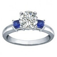 0.50 Ct. Solitaire Diamond and Blue Sapphire Ring in 4 Prong Setting
