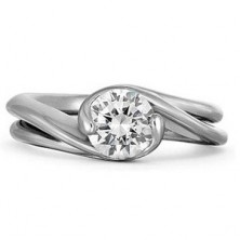 0.90 Ct. Solitaire Diamond Ring in 2 Prong / Half Bezel Setting