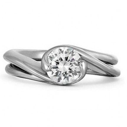 1.03 Ct. Solitaire Diamond Ring in 2 Prong / Half Bezel Setting