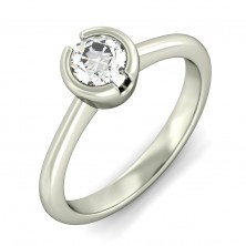 0.75 Ct. Solitaire Diamond Ring in Half Bezel Setting