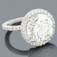 3.01 Ct. Center Solitaire Diamond Ring in 4 Prong Setting With Accent Diamonds