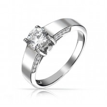 0.90 Ct. Center Solitaire Diamond Ring in 4 Prong Setting With Accent Diamonds