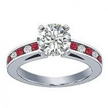 0.66 Ct. Round Brilliant Solitaire Diamond Ring With Round Brilliant Diamonds and Round Shape Side Ruby
