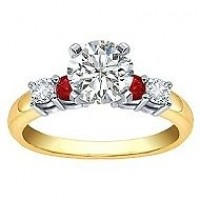 0.84 Ct. Round Brilliant Solitaire Diamond Ring With Round Brilliant Diamonds and Round Shape Side Ruby