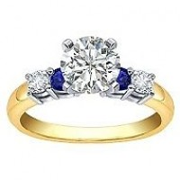 0.84 Ct. Round Brilliant Solitaire Diamond Ring With Side Round Brilliant Diamonds and Side Round Shape Blue Sapphire