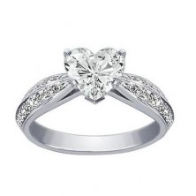 1.00 Ct. Heart Shape Solitaire Diamond Ring With Round Brilliant Side Diamonds