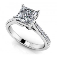 0.98 Ct. Princess Cut Solitaire Diamond Ring With Round Brilliant Side Diamonds