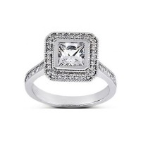 1.10 Ct. Princess Cut Solitaire Diamond Ring With Round Brilliant Side Diamonds