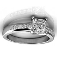 0.80 Ct. Princess Cut Solitaire Diamond Ring With Princess cut Side Diamonds