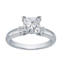 1.00 Ct. Princess Cut Solitaire Diamond Ring With Round Brilliant Side Diamonds
