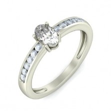 0.74 Ct. Oval Shape Solitaire Diamond Ring With Round Brilliant Side Diamonds