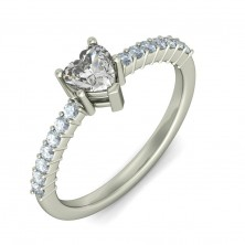 0.78 Ct. Heart Shape Solitaire Diamond Ring With Round Brilliant Side Diamonds