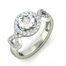 1.61 Ct. Round Brilliant Solitaire Diamond Ring With Round Brilliant Side Diamonds